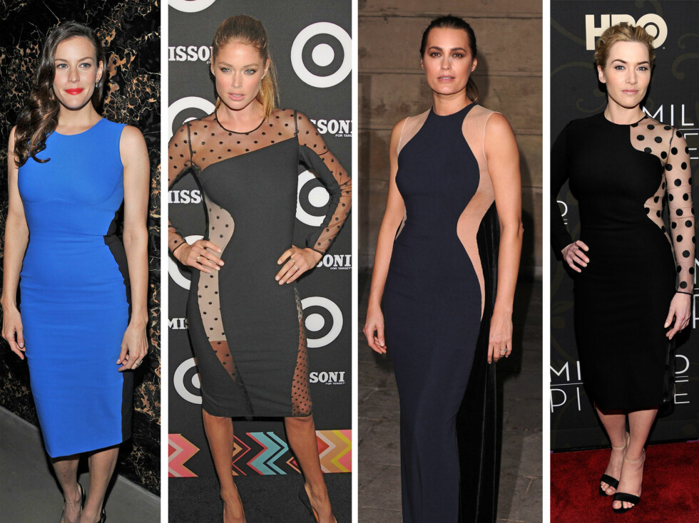 I MCCARTNEYS TRENDKJOLER: Fra venstre - Liv Tyler, Doutzen Kroes, Yasmin Le Bon og Kate Winslet.   Foto: All Over Press