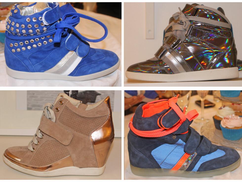 METALLISK OG NAGLER: Neste års platåsneakers skal gjerne være i spenstige farger, eller metallisk, og detaljer som nagler er også veldig trendy. Her ser du sko fra blant andre Tosca Blu, som kommer i butikk til våren.  Foto: Adéle Cappelen Blystad