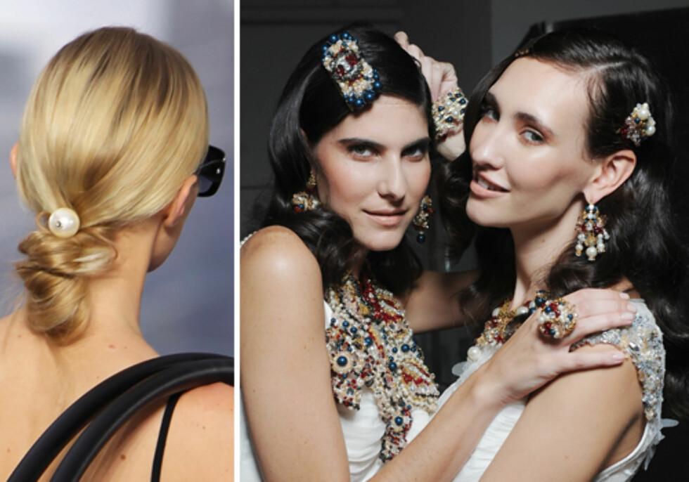 PERLER: Chanel og Nomiki Glynatsis har ganske ulike måter å bruke perler på. Hvilken lar du deg inspirere av? Vi heier på begge! Foto: All Over Press