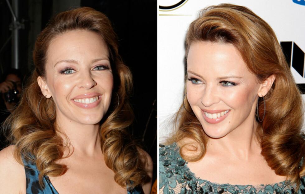GLAMORØSE BØLGER: Kylie Minogue har lagt sin elsk på de glamorøse bølgene og gitt den klassiske retrolooken en moderne vri. Lær deg hvordan du kopierer looken i denne saken. Foto: All Over Press