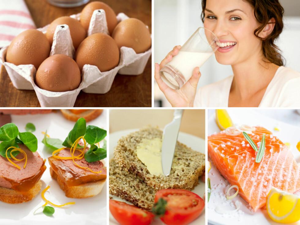 MER GJENNOM KOSTEN: Egg, melk, lever, smør og fet fisk - som laks, er supre kilder til vitamin D, og du bør øke inntaket av en del av disse matvarene gjennom vinterhalvåret.  Foto: Thinkstock/Collage: A. C. Blystad