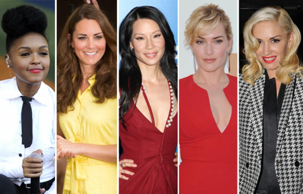 SELVSTENDIGE: Janelle Monae, hertuginne Catherine, Lucy Liu, Kate Winslet og Gwen Stefani foretrekker å fikse både hår og sminke selv. Tipsene deres får du i denne saken. Foto: All Over Press