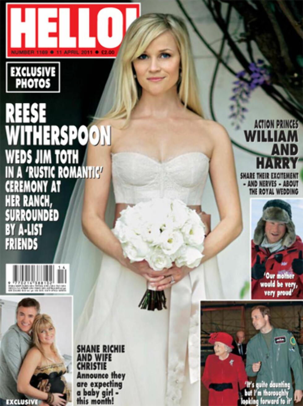 Skuespiller Reese Witherspoons kjole var en svak svak rosafarge.  Foto: Faksimile Hello Magazine