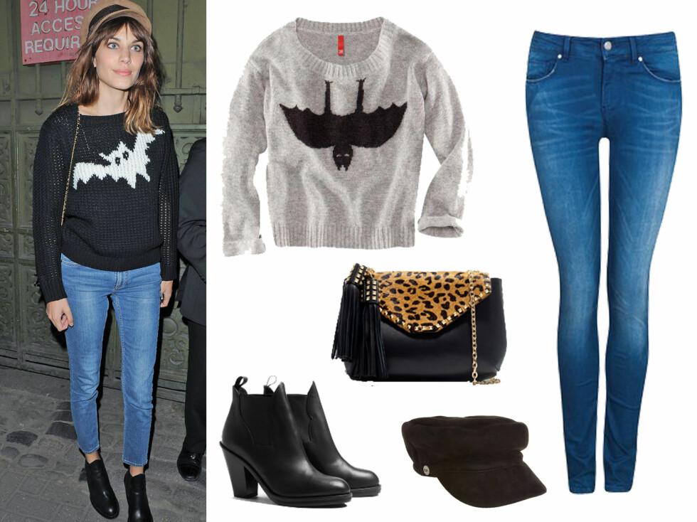 GJØR SOM ALEXA:Grå flaggermus-genser fra H&M (249 kroner), svarte støvletter fra Acne (3000 kroner, Mywardrobe.com), hatt fra UGG (1244 kroner fra Asos.com), veske med leopardmønster (799 kroner, Zara.no) og smale blå jeans fra Bik Bok (Groupie Flex-modell, 399 kroner).  Foto: All Over Press/produsentene