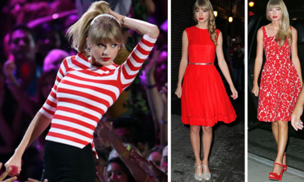 <strong>KLASSISK:</strong> Taylor Swift foretrekker stort sett klassiske mønstre og silhuetter.  Foto: All Over Press
