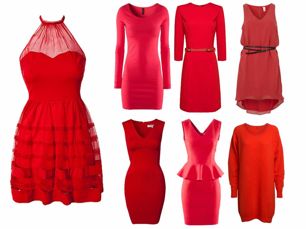<strong>LEKRE, RØDE KJØPETIPS:</strong> Fra venstre - rød kjole med gjennomsiktig detalj (399 kr, Nelly.com), langermet kjole (129 kroner, hm.com), langermet kjole med belte i livet (499 kr, Mango), enkel kjole med svart belte (229 kr, Vila, Bestseller.com), langermet genserkjole (399 kr, Lindex.no), peplumkjole (399 kr, hm.com) og kortermet, tettsittende kjole fra French Connection (799 kr, Nelly.com).  Foto: Produsentene