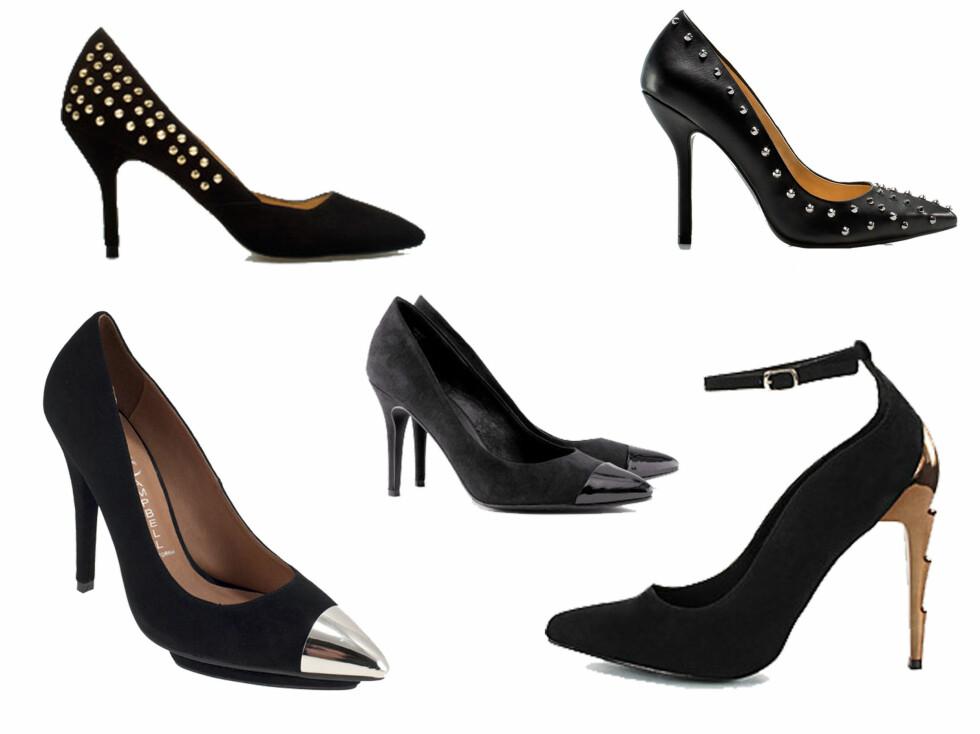 <strong>SPENNENDE DETALJER:</strong> Årets pumps skal enten være helt svarte, eller ha spennende detaljer som nagler eller metalltupp. Fra venstre - sko med sølvtupp (Jeffrey Campbell - 1398 kr, Lillevinkelsko.no), sko med svart tupp (299 kr, Hm.com), sko med gullnagler (599 kr, Zara.no), sko med sølvnagler (559 kr, Zara.no), sko med metallhæl (399 kr, Nelly.com).  Foto: Produsentene