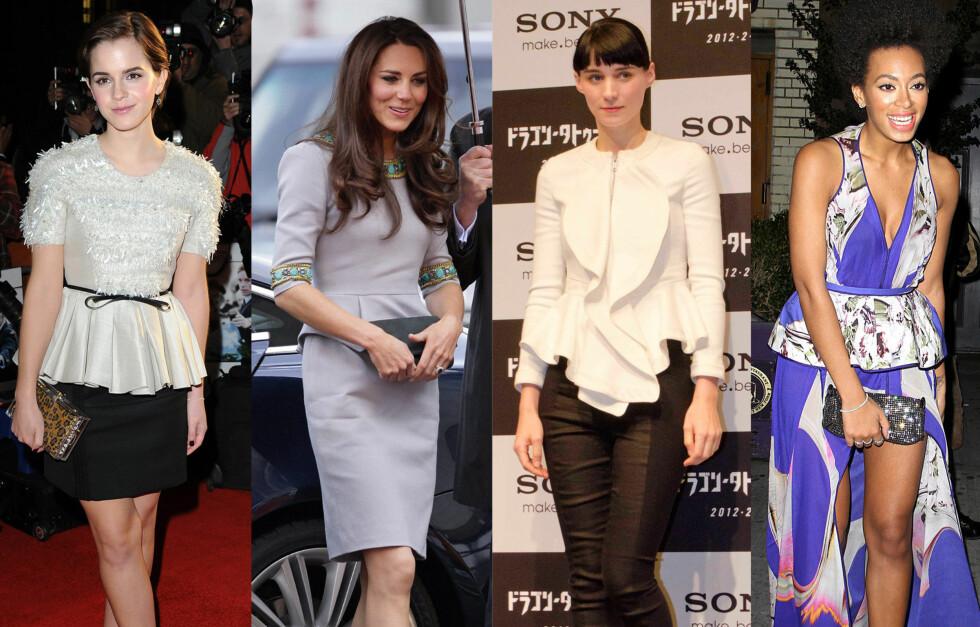 ELSKER PEPLUM-TRENDEN: Kjendisene har for lengst hivd seg på peplum-trenden. Fra venstre - Emma Watson, Kate Middleton, Rooney Mara og Solange Knowles. Foto: All Over Press