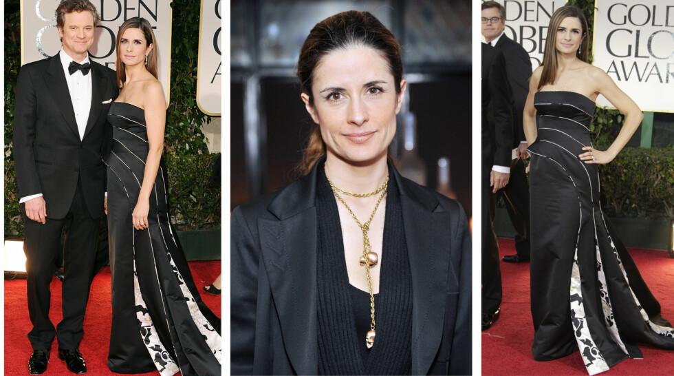 I PLAST: Her er Colin Firths kone - Livia Firth, ikledd en plastkjole signert Armani under Oscar-utdelingen i februar.  Foto: All Over Press