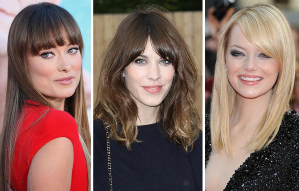 DILLA PÅ LUGG: Gjør som Olivia Stone, Alexa Chung eller Emma Stone og gå for pannelugg i høst. Uansett hårtype og ansiktsform, finnes det en lugg som kler det – enten du vil ha en skikkelig statementfrisyre eller en mer forsiktig tilnærming.  Foto: All Over Press