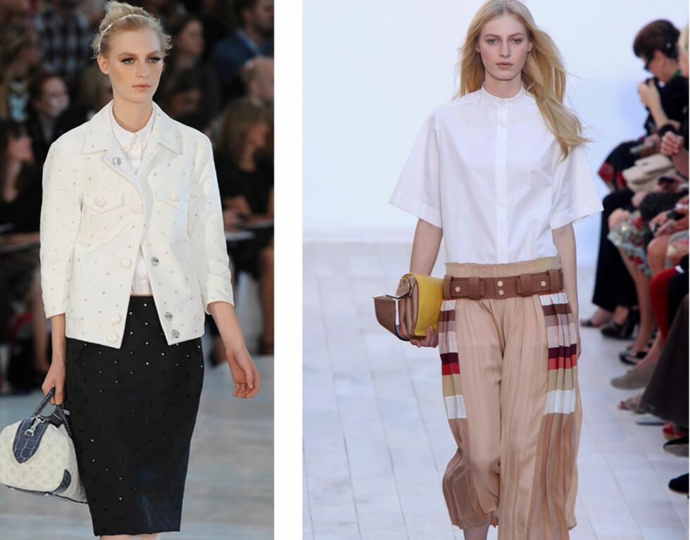 OPPKNEPPET TREND: Både Louis Vuitton og Chloè har tidligere vist at du nå skal kneppe opp den hvite skjorta - og da mener vi helt opp. Foto: All Over Press