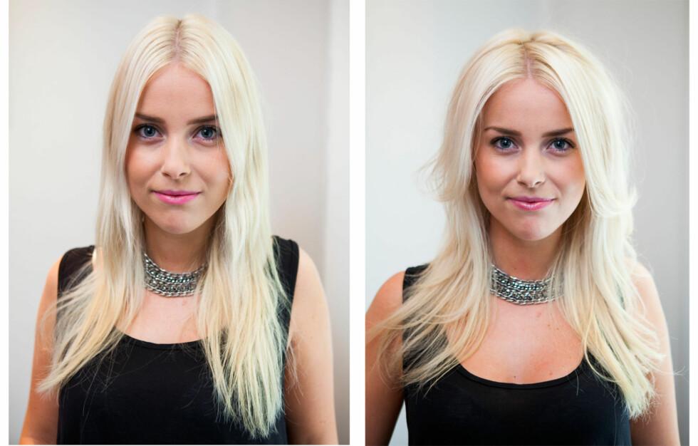 FØR OG ETTER BLOW DRY: Se forskjellen! Har du også lyst på sånt hår? Foto: Per Ervland