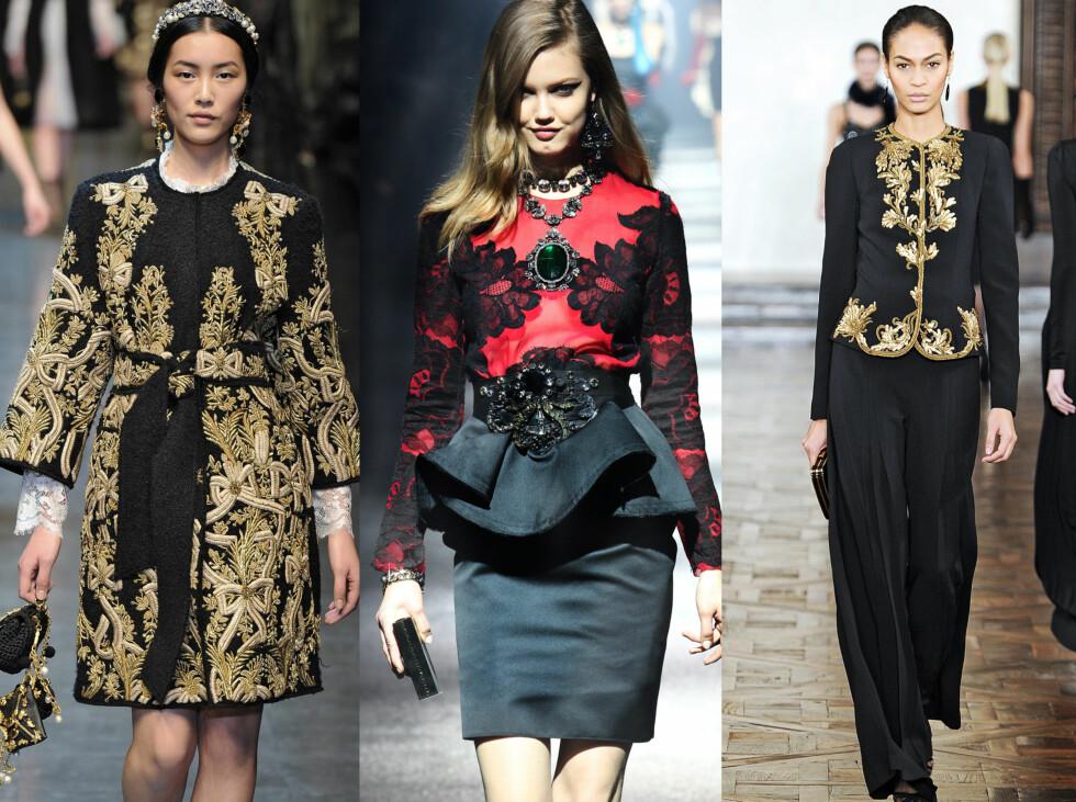 BAROKK: Dolce & Gabbana, Lanvin og Ralph Lauren. Foto: All Over Press