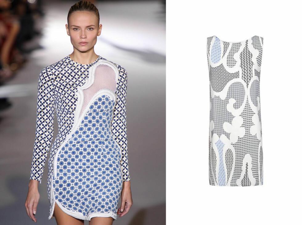 STELLA MCCARTNEY: Denne mønstrete, blå og hvite kjolen kan bli din for 300kr hos Mango. Foto: All Over Press og produsenten