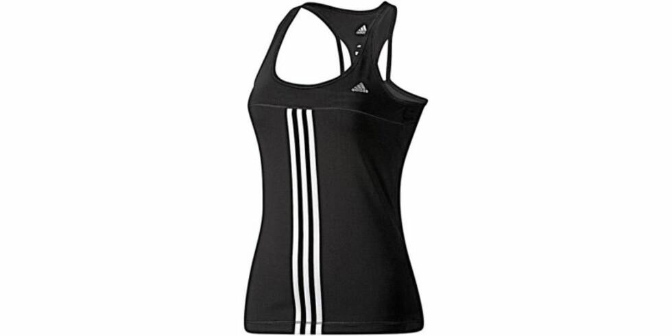 Adidas treningstopp med racerback har ekstra støtte til brystene. Ca. 400 kr Foto: Adidas