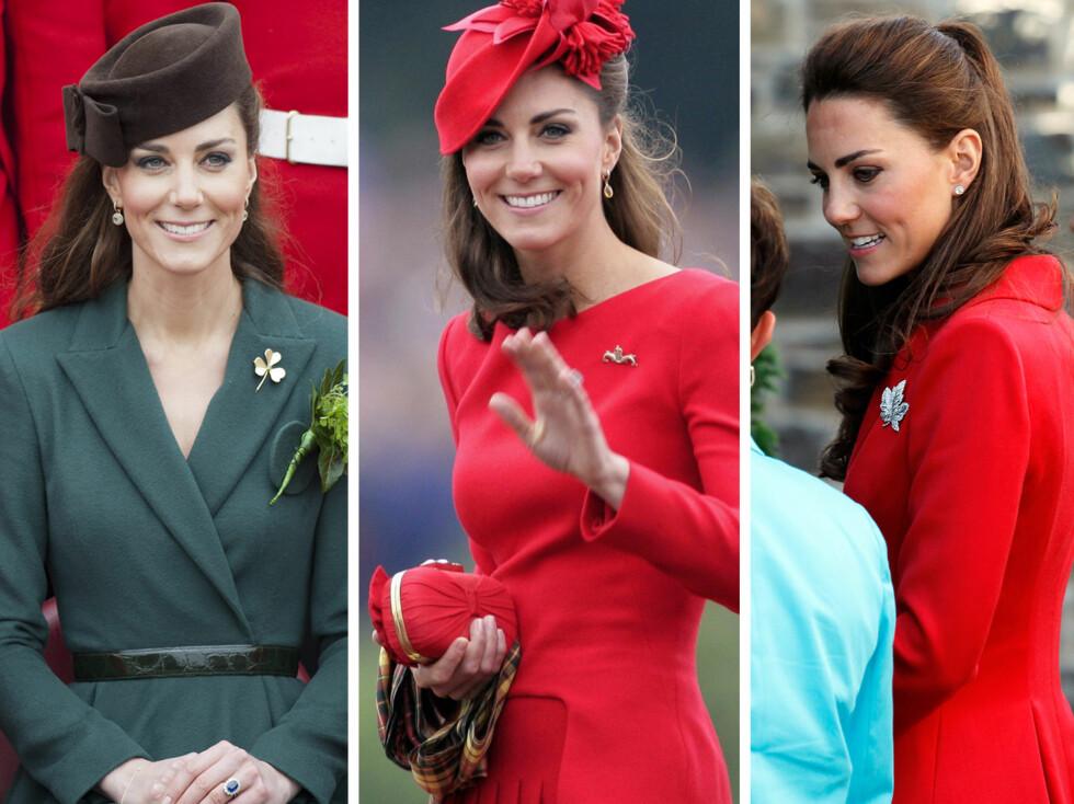 FAN AV BROSJER: Hertuginnen av Cambridge- Kate Middelton, bruker ofte brosjer, og er en av årsakene til at den klassiske accessoiren er tilbake i motebildet.  Foto: All Over Press