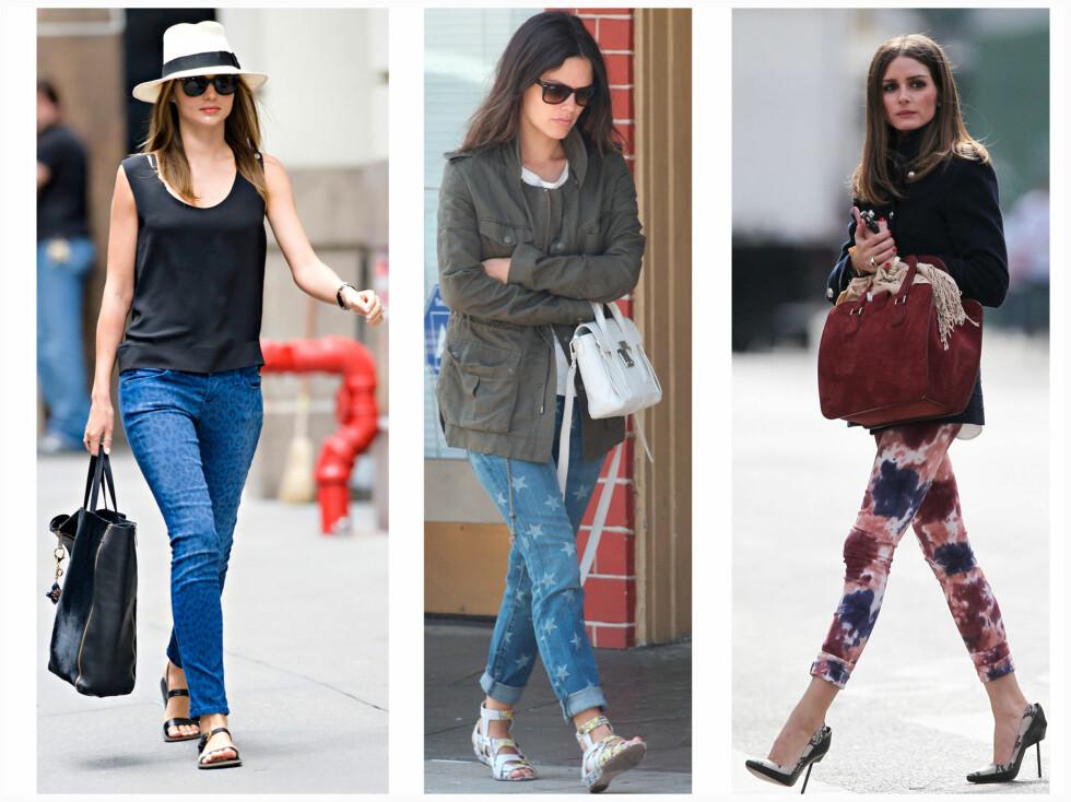 """MØNSTRETE: Supermodell Miranda Kerr, skuespiller Rachel Bilson og moteløven Olivia Palermo har alle lagt sin elsk på mønstrete jeans i sommer. Mirandra går for leopardjeans, Rachel går for stjerner, mens Olivia går for blomster og batikk. Legg merke til det """"rolige"""" tilbehøret. Foto: All Over Press"""