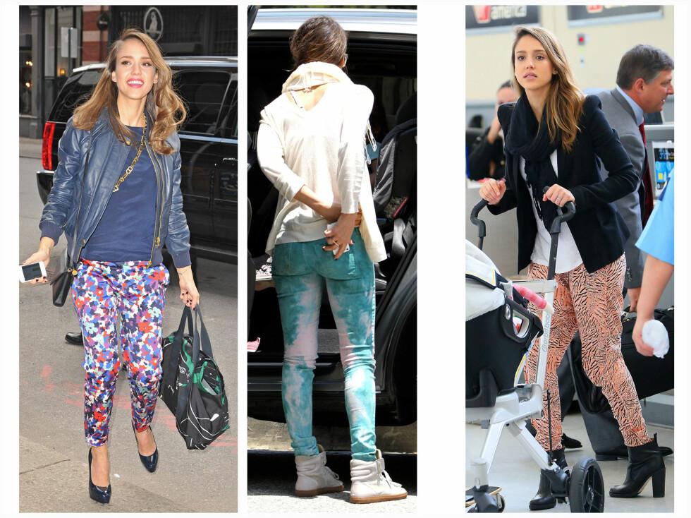 DILLA PÅ MØNSTRETE BUKSER: Skuespiller Jessica Alba er ikke redd for å prøve nye trender. Hun har massevis at fargerike og mønstrete jeans i klesskapet sitt - bare se her.  Foto: All Over Press