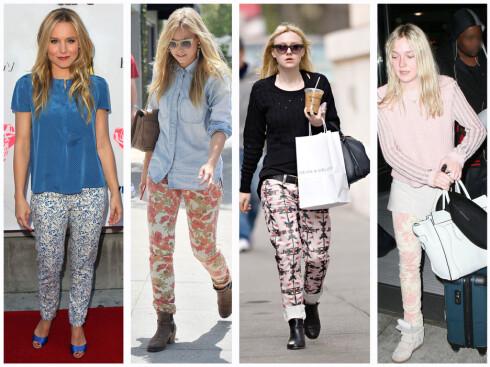 MØNSTER-FAN: Skuespiller Kristen Bell og Dakota Fanning er ofte å se i mønstrete jeans. Kristen er det perfekte eksempelet på hvordan du bruker mønstrete bukser til fest.  Foto: All Over Press