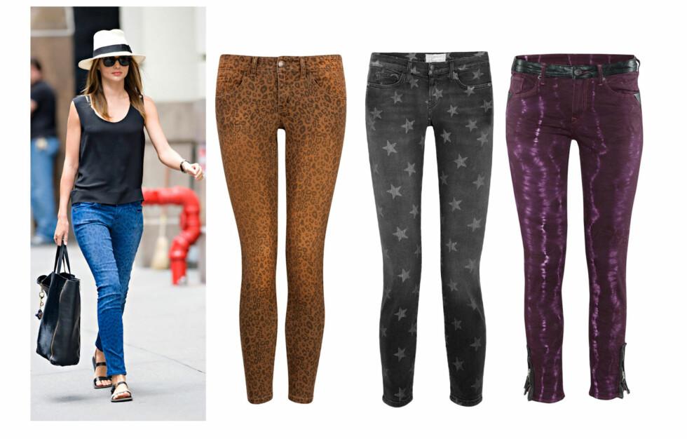 TRENDY: Bukser er så mye mer enn bukser. Gjør som Miranda Kerr og kombiner buksene sammen med en ensfarget topp. Foto: All Over Press/Produsentene