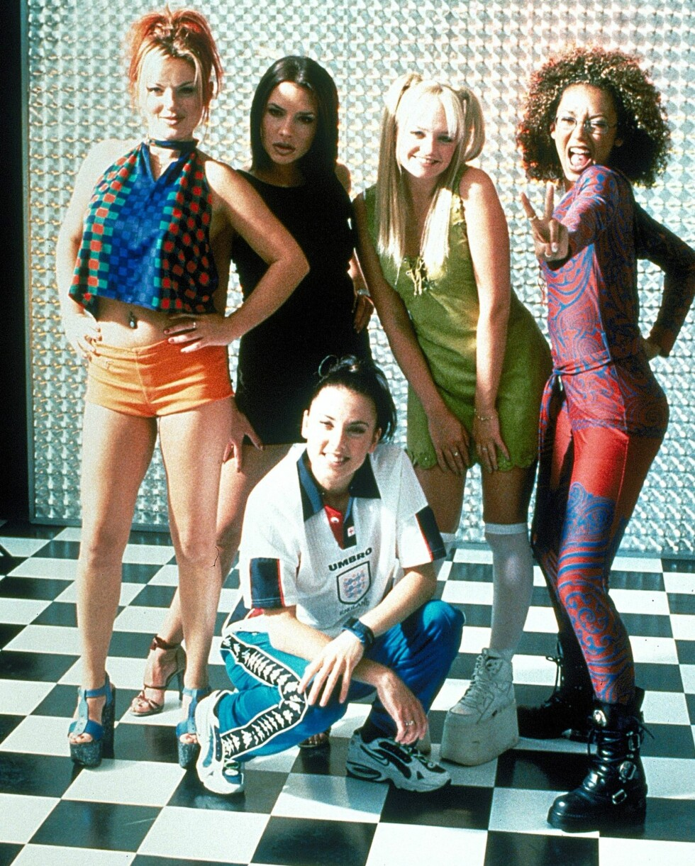 pOPULÆRE JENTER: Geri Halliwell som Ginger Spice, Victoria Beckham som Posh Spice, Melanie Chisholm som Sporty Spice, Emma Bunton som Baby Spice og Melanie Brown som Scary Spice. Foto: All Over Press