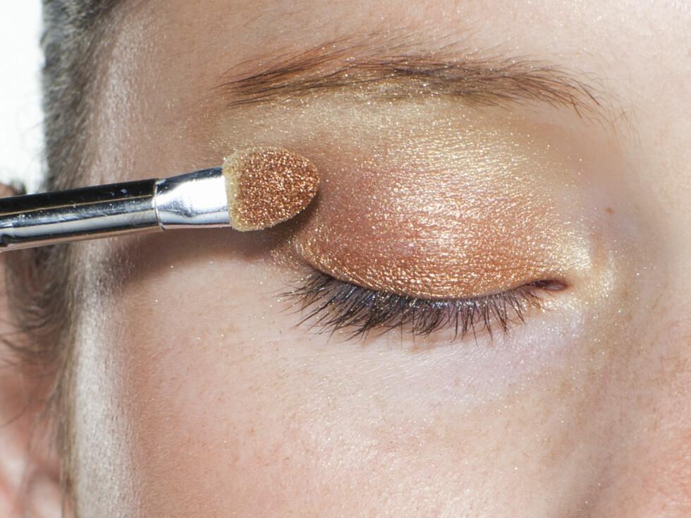 TRINN 2: Kobber legges fra vippekant til øyebein/globalen. Husk å koste godt ut. Foto: Astrid Waller