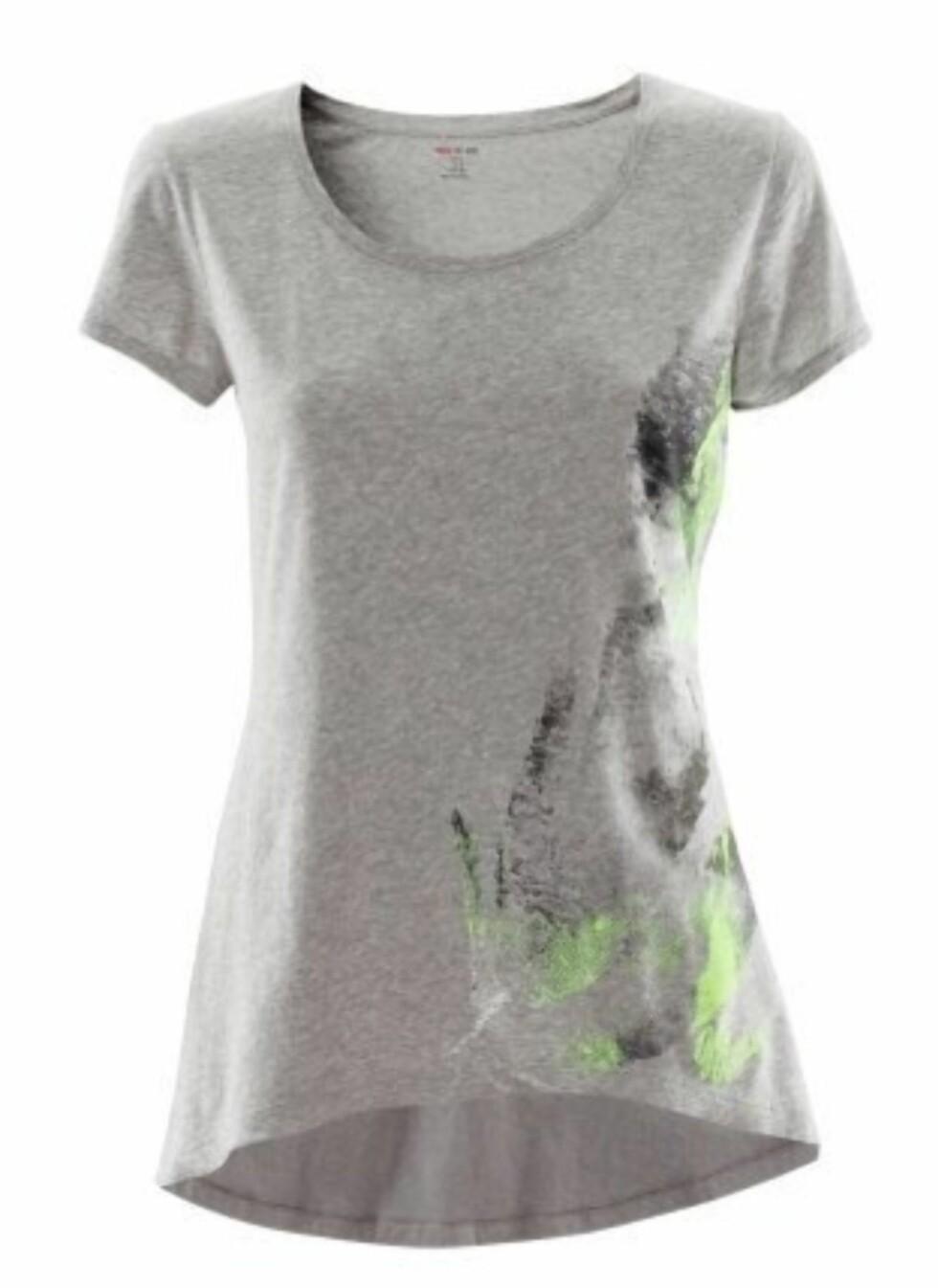 Kul trenings-tskjorte med trykk i 100 prosent bomull fra H&M. 59,50 kroner fra Hm.com.  Foto: Produsenten