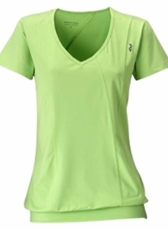 Lekker grønn trenings-tskjorte fra Röhnisch. Laget i funksjonsmateriale med bomullsfølelse. 249 kroner fra Gymgrossisten.no.  Foto: Produsenten