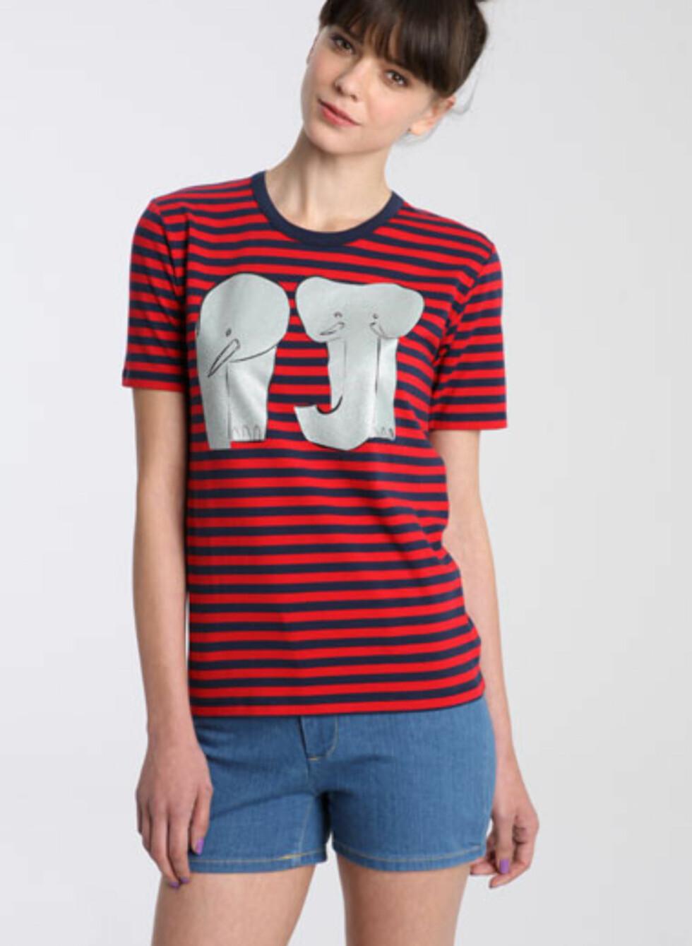Stripet t-skjorte med elefanter (ca kr.460/Urbanoutfitters.com). Foto: Produsentene