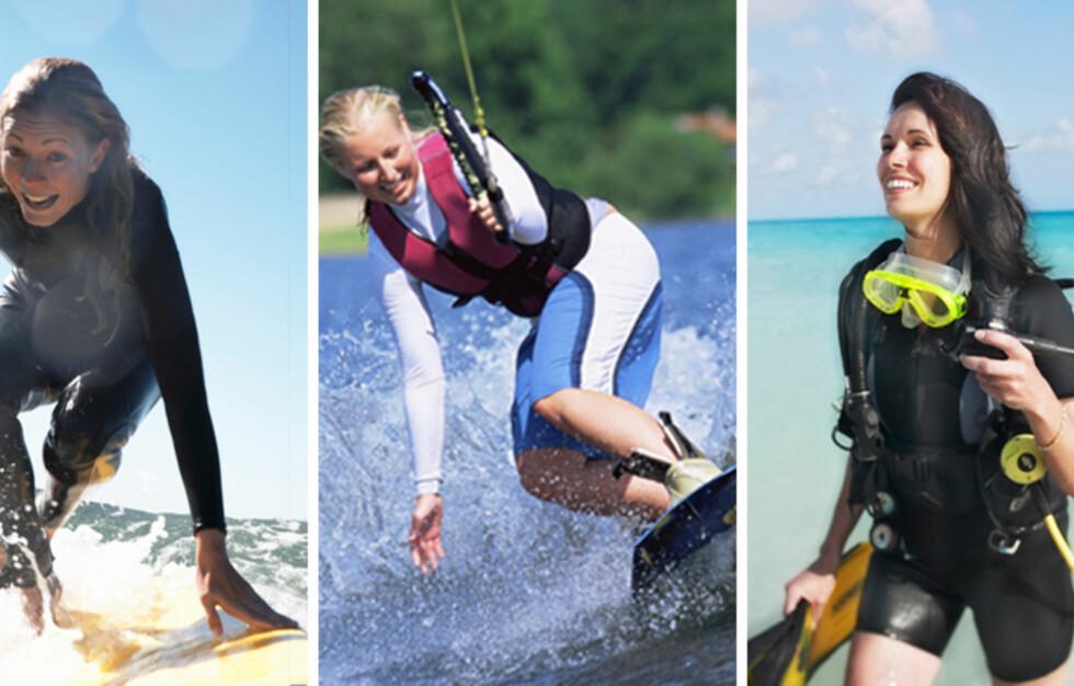 <strong>BRENN KALORIER:</strong> Havet er ikke bare til å fiske og svømme i. Det finnes en rekke andre aktiviteter (som surfing, wakeboarding og dykking) du kan gjøre til sjøs som forbrenner flust med kalorier. Les mer i saken nedenfor.  Foto: Colourbox + Thinkstockphotos