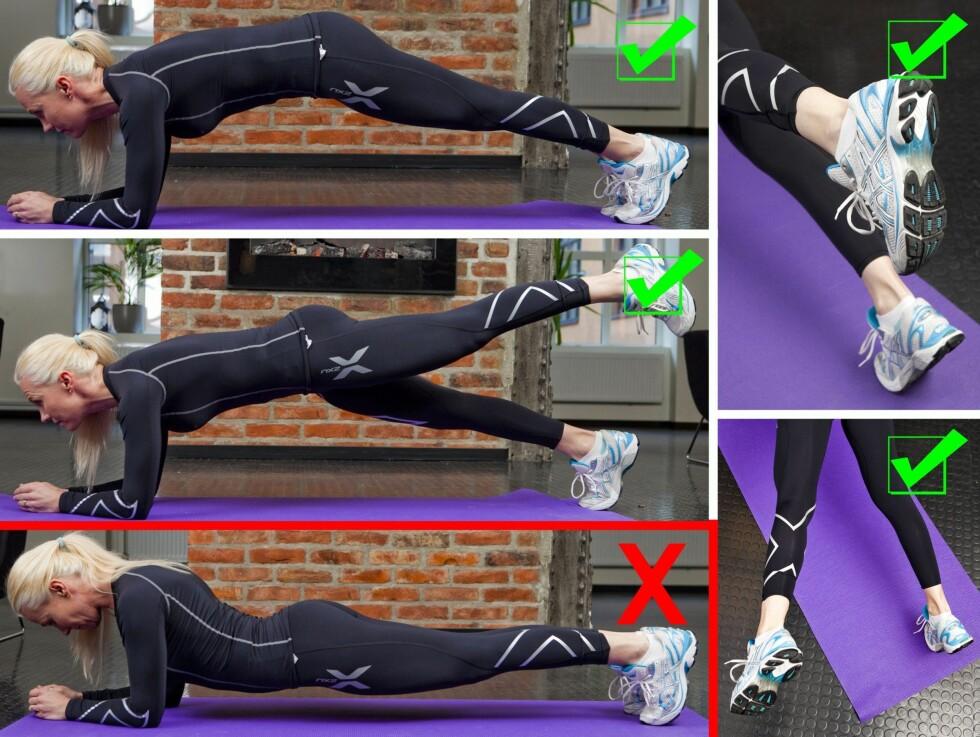 RIKTIG TEKNIKK: Her viser treningsekspert Ina Garthe riktig og feil teknikk i forbindelse med en klassisk plankeøvelse, samt løft av bein. Foto: Per Ervland
