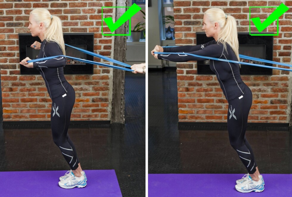 BRYSTPRESS MED STRIKK: Denne øvelsen trener brystet veldig godt. Bruk kraften i armene til å dra strikken rett fremover.  Foto: Per Ervland