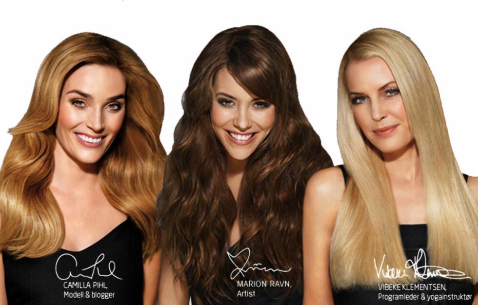 HÅRMODELLER: Camilla, Marion og Vibeke skal fronte Define sin nye hårpleieserie. Her deler de sine beste hårtips. Foto: Define