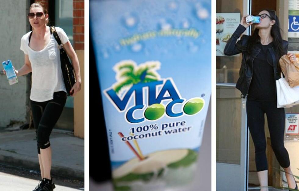 POPULÆRT: Kokosvann har blitt kjempepopulært blant stjernene i Hollywood. Her drikker «Grey's Anatomy»-skuespiller Ellen Pompeo og filmstjerne Demi Moore vann fra merket Vita Coco, som er det firmaet Madonna har investert i.  Foto: All over press