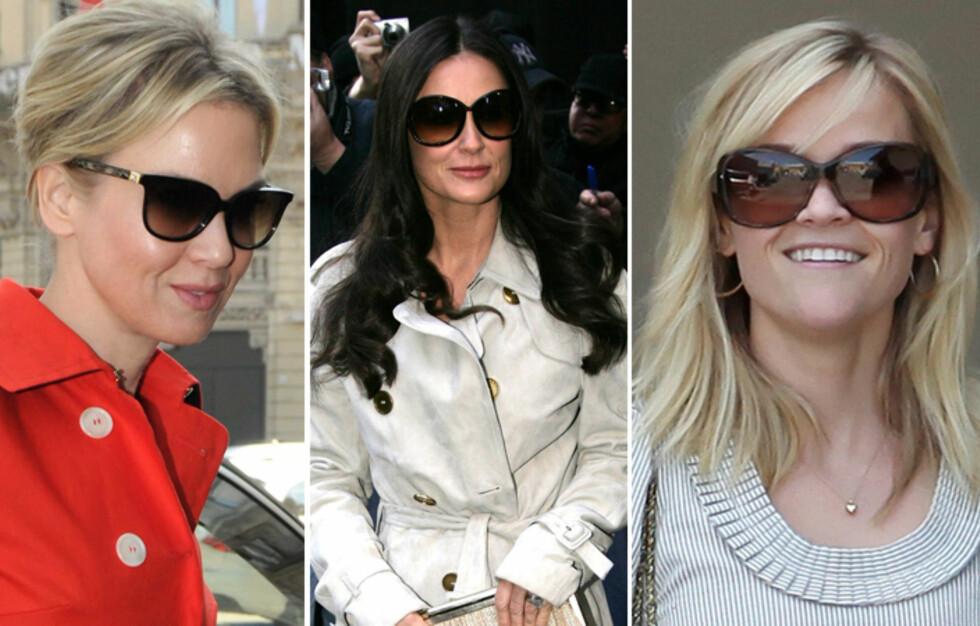 <strong>BRILLEFINE KJENDISER:</strong> De har ikke samme ansiktsform, men alle er fine i solbriller. Finn tommelfingerreglene for din ansiktsform lenger nede i artikkelen. Foto: All Over Press
