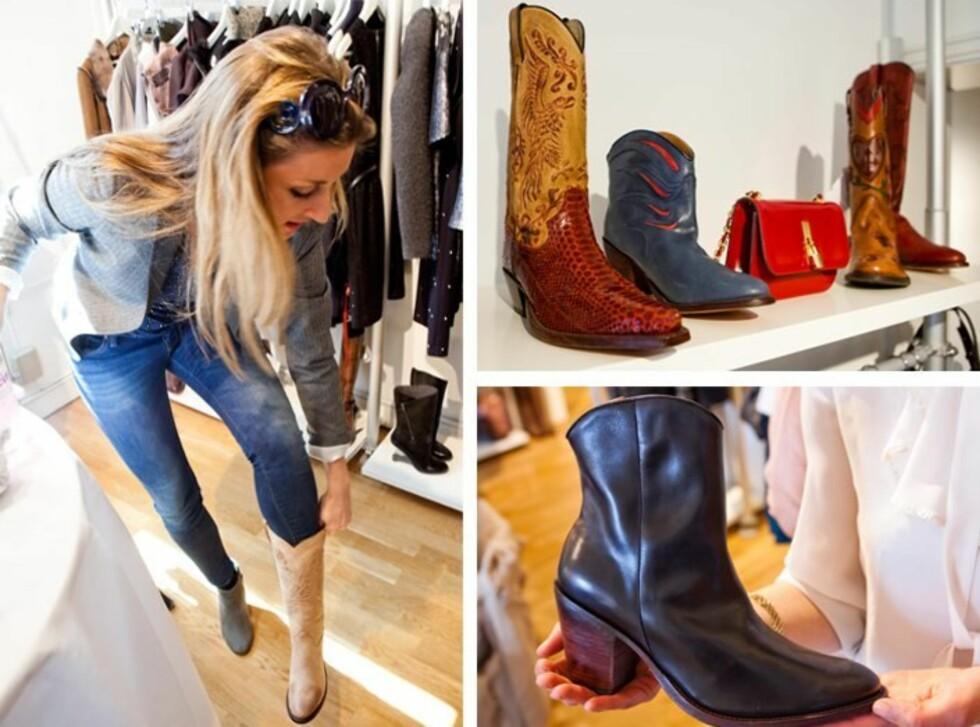 STYLINGTIPS: Du kan bruke cowboystøvlene til det meste, men kombinasjonen smale jeans og høye boots er Annette Bulls soleklare favoritt. Se flere forslag lenger ned i saken. Foto: All Over Press