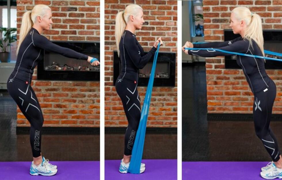 STYRKE OVERKROPP: Denne uken viser Ina Garthe flere gode styrkeøvelser du kan gjøre hjemme for å stramme armer, bryst og rygg. Alt du behøver er egen kroppsvekt og en gym/treningsstrikk.  Foto: Per Ervland