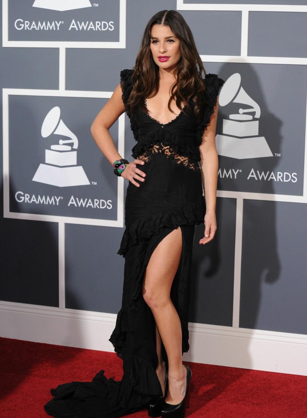The Glee-stjerne Lea Michele i Emilio Pucci-kjole og Christian Louboutin-pumps. Foto: All Over Press