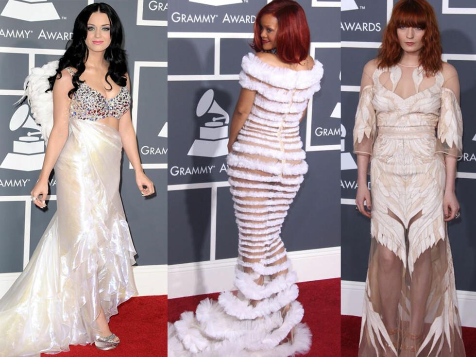 SVANER, FJÆR OG HAVFRUER: Popstjernene Katy Perry, Rihanna og Florence Welch. Foto: All Over Press
