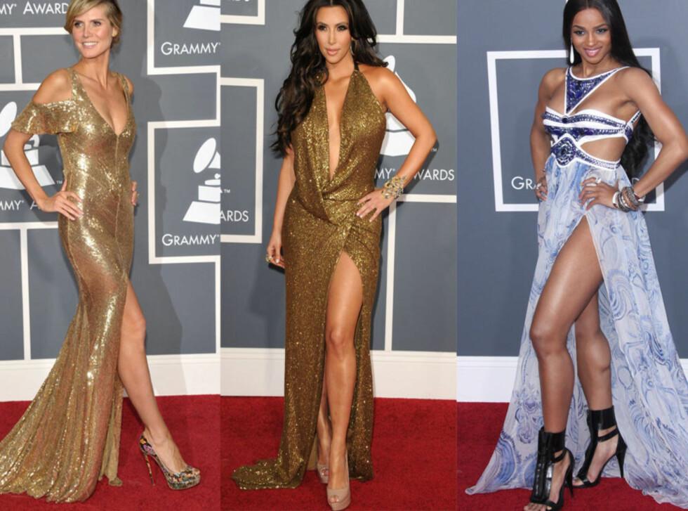 SEXY STJERNER: Heidi Klum i gyllen Julien Macdonald-kjole, tv-stjernen Kim Kardashian i vintage-inspirert Kaufman Franco-kjole og popstjernen Ciara i Emilio Pucci-kjole med glitrende steiner.