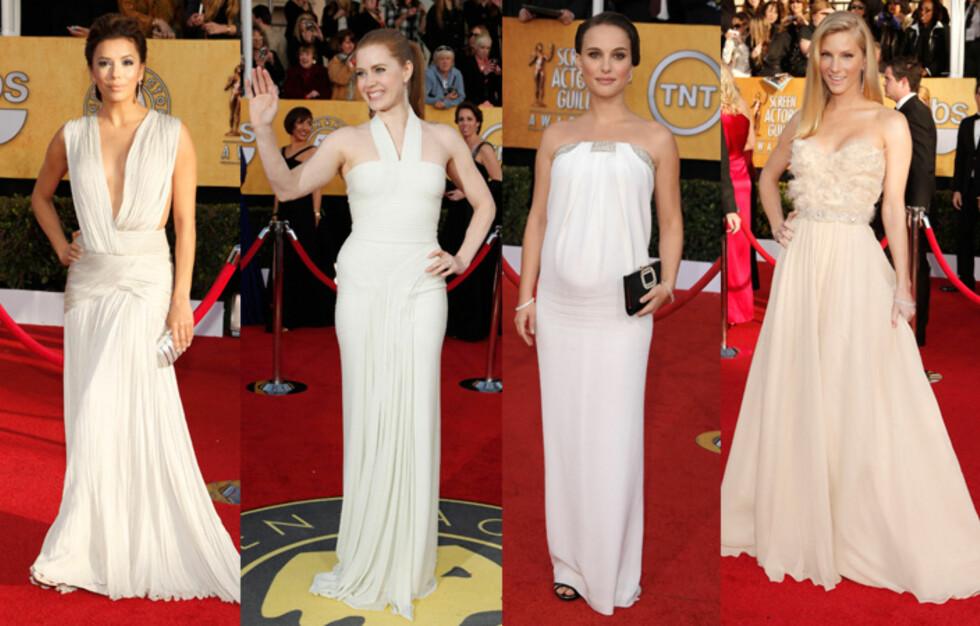 GLEM SVART: Hvitt og puddertoner var stjernenes favoritt under SAG Awards søndag kveld. Foto: All Over Press