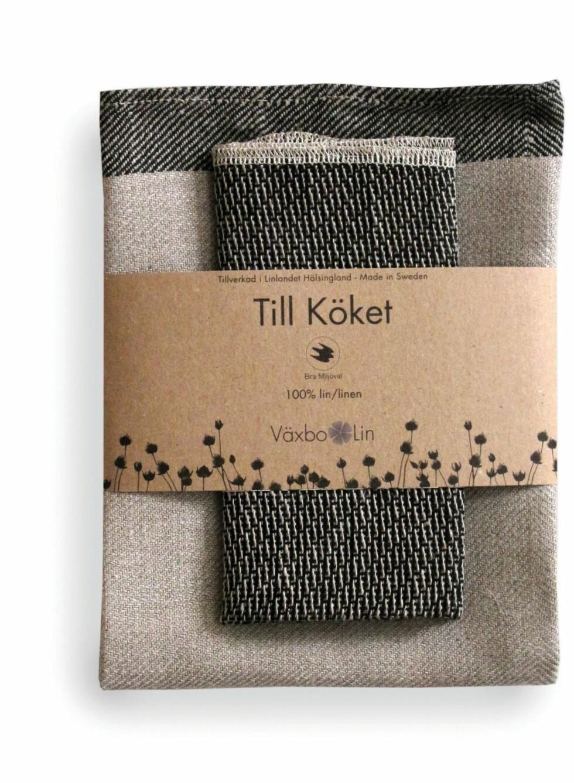 Kjøkkensett i 100 prosent lin fra linspinneriet Väksbo Lin i Sverige, Skandinavias eneste linspinneri, kr 179 for stor og 79 for liten. Foto: Produsenten