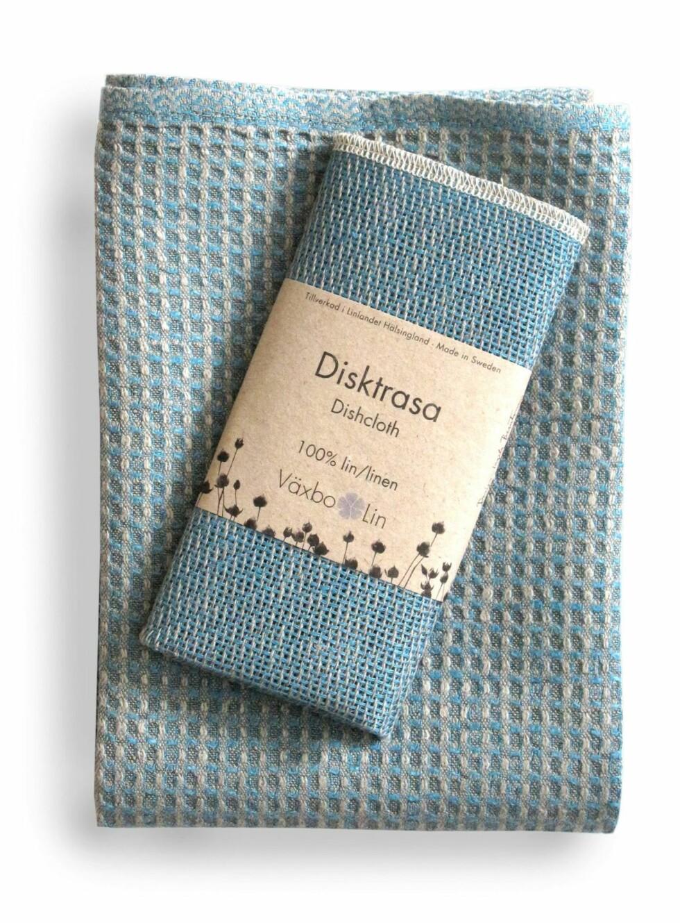 Turkis oppvaskhåndklé og -klut i 100 prosent lin, fra Väksbo Lin, kr 190 for stor og 79 for liten. Foto: Produsenten