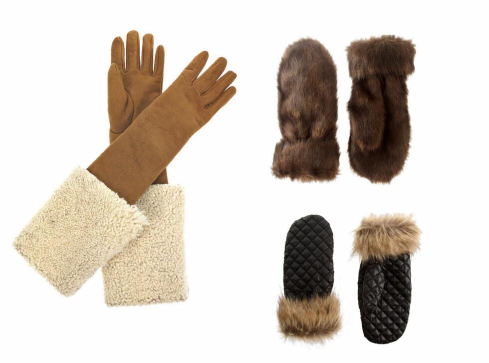 IKKE GÅ DER OG FRYS: Lange hansker i saueskinn i luksusklassen (cirka kr 5870, Yves Saint Laurent/Netaporter.com), lodne votter i musebrun fuskepels (kr 120, Asos.com) og svarte quiltede varianter (kr 160, Pieces/Asos.com). Foto: Produsenter/forhandlere
