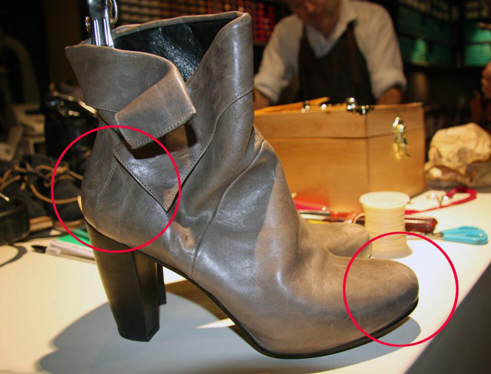 SKOENS SKJELETT: Får skoen skader på den harde delen av hælen eller tuppen, kan det være vanskelig å reparere. Foto: Tone Ra Pedersen