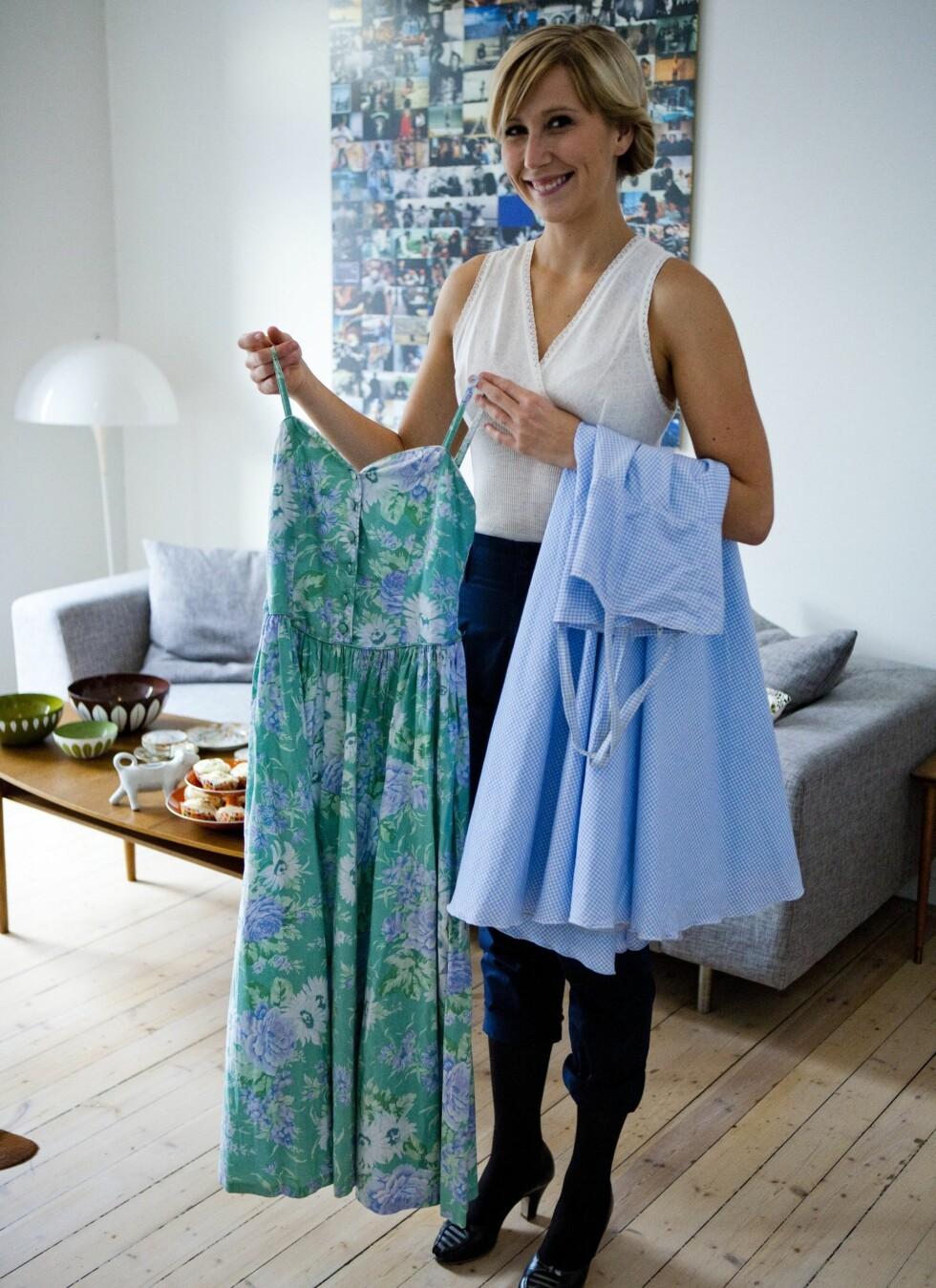 Den grønne sommerkjolen er kjøpt på søndagsmarkedet i Birkelunden i Oslo og den blå er fra Fretex i Markveien i Oslo. Begge kostet cirka kr. 150. Foto: Per Ervland