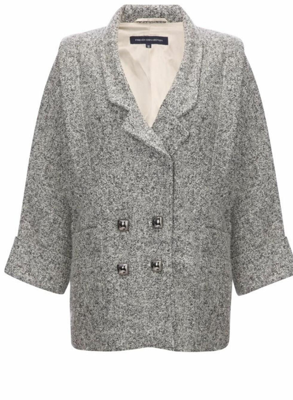50-tallsinspirert jakke i polyester, ull og aviskose (ca 1465 kr, Fcuk.com).