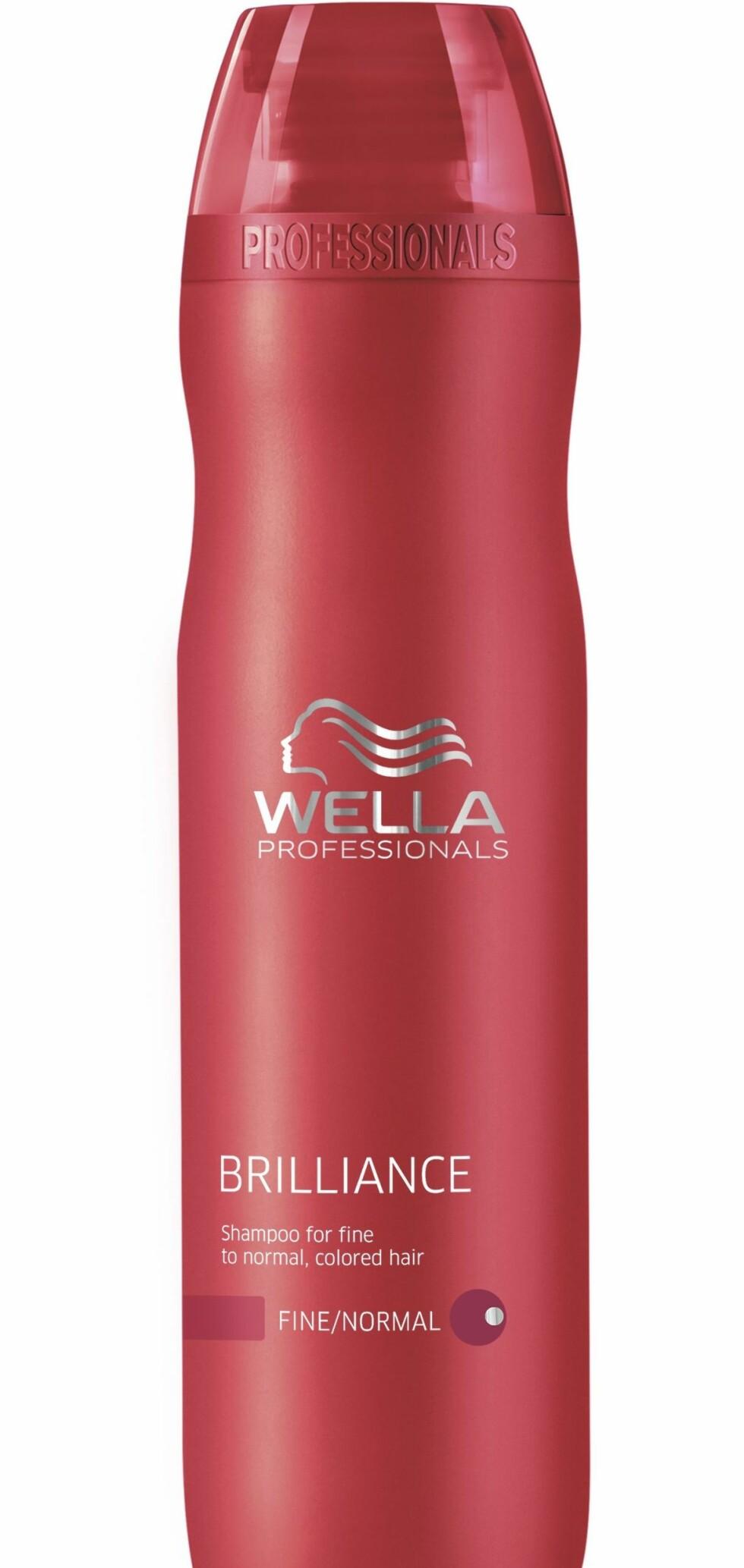 Brilliance shampoo for fint/medium, farget hår fra Wella Professionals Care, veil. kr 189. Finnes også for grovt, farget hår.  Foto: Produsenten