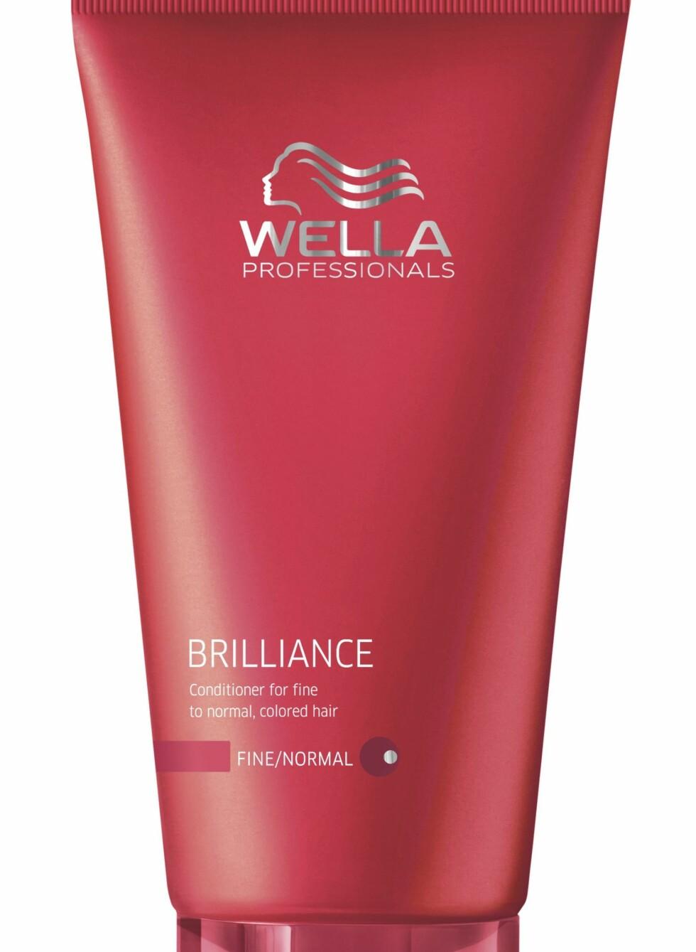 Brilliance balsam for fint til normalt, farget hår, fra Wella Professionals Care, veil. kr 199. Finnes også for grovt hår. Foto: Produsenten