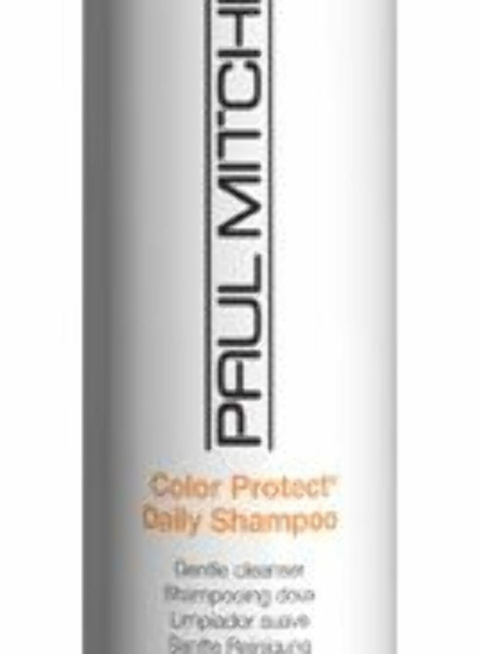 Paul Mitchell Color Protect Daily Shampoo er en mild sjampo som pleier håret og beskytter mot solbleking, siden den har UVA- og UVB-beskyttelse, veil. kr 216. Foto: Produsenten